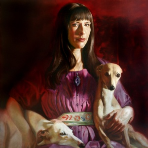 Selfportrait with Greyhounds