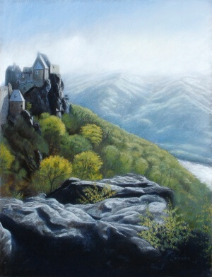 Ruine Aggstein, Soft pastel on paper, 30 x 40 cm, 2006
