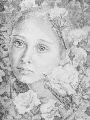 Blumengesicht 2, Pencil on Paper
