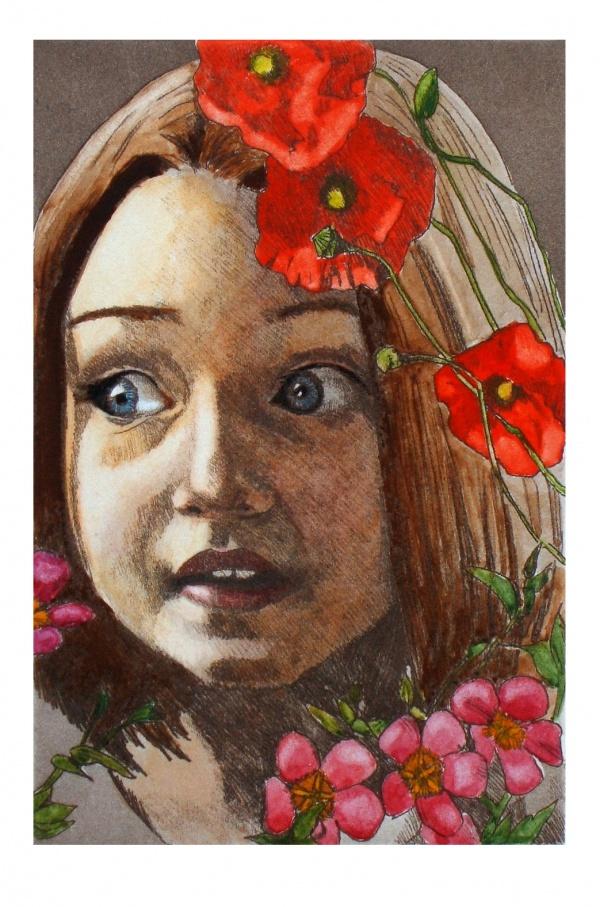 Blumengesicht, Radierung, handkoloriert, 10 x 15 cm, 2005