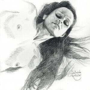Dreaming 1, Black crayon on paper, 29 x 29 cm, 2017