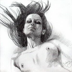 Dreaming 2, Black crayon on paper, 29 x 29 cm, 2017