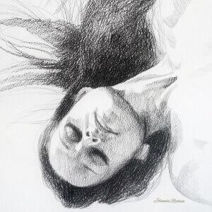 Dreaming 3, Black crayon on paper, 29 x 29 cm, 2017