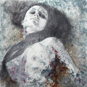 Dreaming 4, Black crayon and watercolor on paper, 29 x 29 cm, 2017