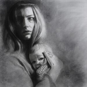 Es wird mein Leben sein, Charcoal on paper, 49 x 49 cm, 2018
