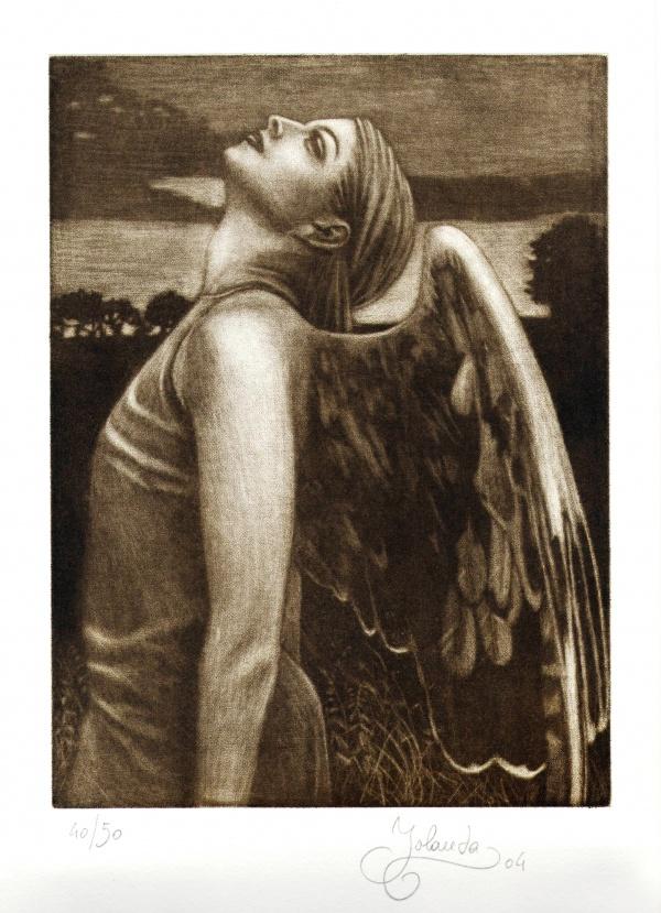 Flügelmädchen, Mezzotinto, 20 x 25 cm, 2004