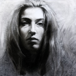 Lamento, Charcoal on paper, 29 x 29 cm, 2018