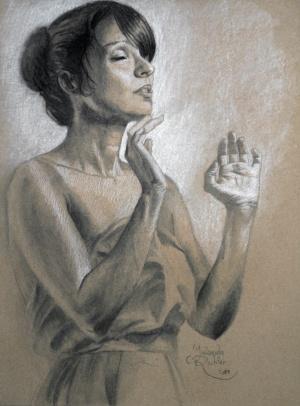 Nur diese weite, weiße Stille, Charcoal and chalk on paper, 30 x 40 cm, 2017