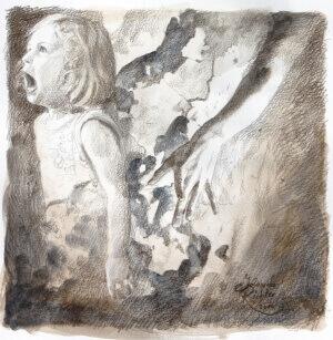 Scream, Pencil and watercolor on paper, 25 x 25 cm, 2014
