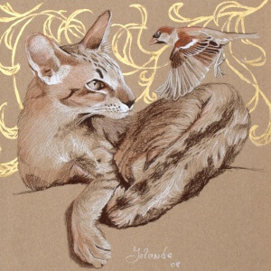 Tierwelten 1, Colored pencils on colored paper, 2008