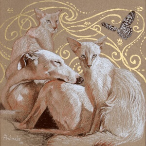 Tierwelten 2, Colored pencils on colored paper, 2008