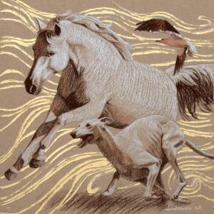 Tierwelten 3, Colored pencils on colored paper, 2008