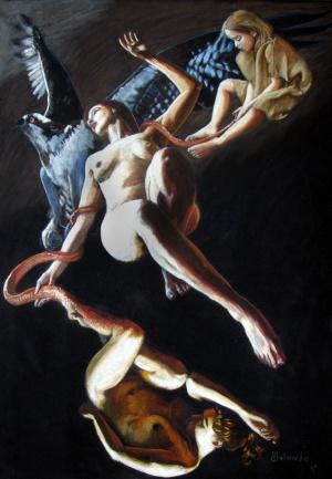 Unsterblichkeit, Soft pastel on velour, 44 x 64 cm, 2007