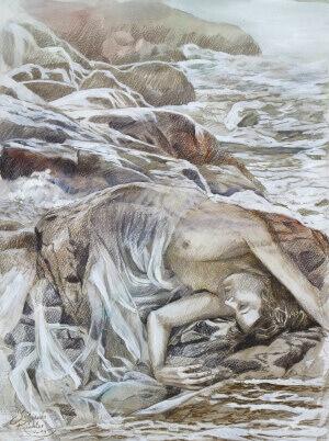Wie gleichst du dem Wasser 2, Pencil and gouache on paper, 30 x 40 cm, 2014
