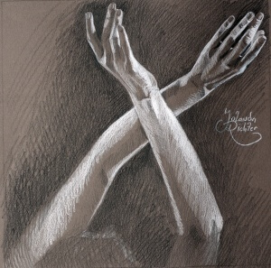 Hands, Pencils on colored paper, 29 x 29 cm, 2016