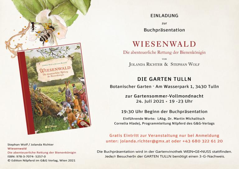 """Einladung Buchpräsentation """"Wiesenwald"""" zur Vollmondnacht der """"Die Garten Tulln"""""""